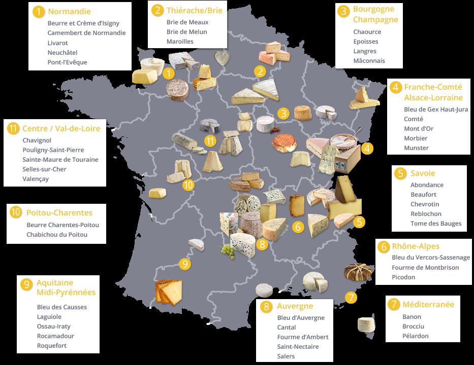 UNE CARTE DE FRANCE AVEC LES APPELATIONS REGIONALES DES FROMAGES